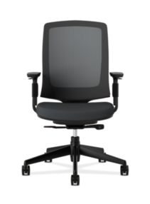 HON Lota Mesh Back Chair Black Adjustable Arms Front View H2281.VA10.T