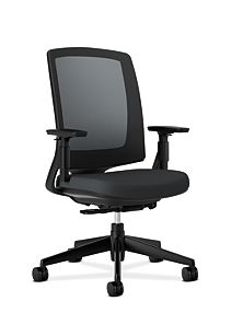 HON Lota Mesh Back Chair Black Adjustable Arms Front Side View H2281.VA10.T