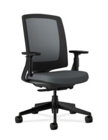 HON Lota Mesh Back Chair Charcoal Adjustable Arms Front Side View H2281.VA19.T