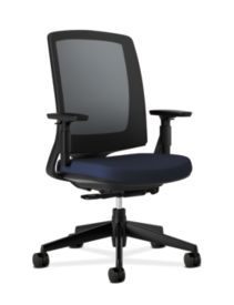 HON Lota Mesh Back Chair Navy Adjustable Arms Front Side View H2281.VA90.T