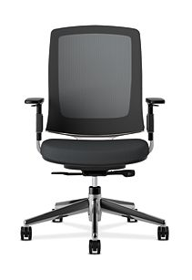HON Lota Mesh Back Chair Black Adjustable Arms Front View VA10.PA