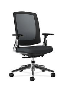 HON Lota Mesh Back Chair Black Adjustable Arms Front Side View VA10.PA