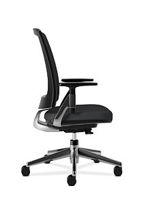 HON Lota Mesh Back Chair Black Adjustable Arms Side View VA10.PA