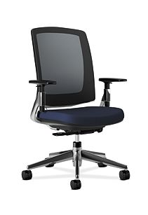 HON Lota Mesh Back Chair Navy Adjustable Arms Front Side View VA90.PA