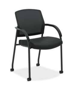 HON Lota Multi-Purpose Side Chair Black Fixed Arms Front Side View H2285.VA10