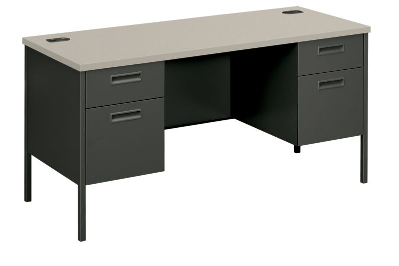 HON MetroClassic Double Credenza Gray Charcoal Front Side View HP3231.G2.S