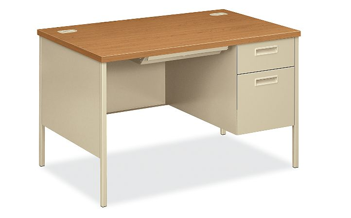 HON MetroClassic Right Pedestal Desk Harvest Putty Front Side View HP3251R.C.L
