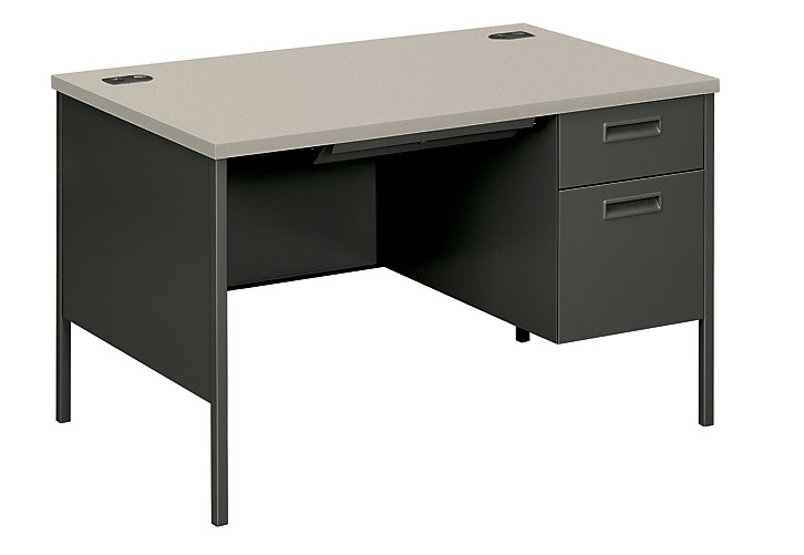 HON MetroClassic Right Pedestal Desk Gray Charcoal Front Side View HP3251R.G2.S