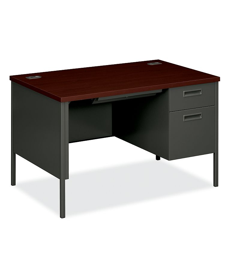 HON MetroClassic Right Pedestal Desk Mahogany Charcoal Front Side View HP3251R.Q.Q