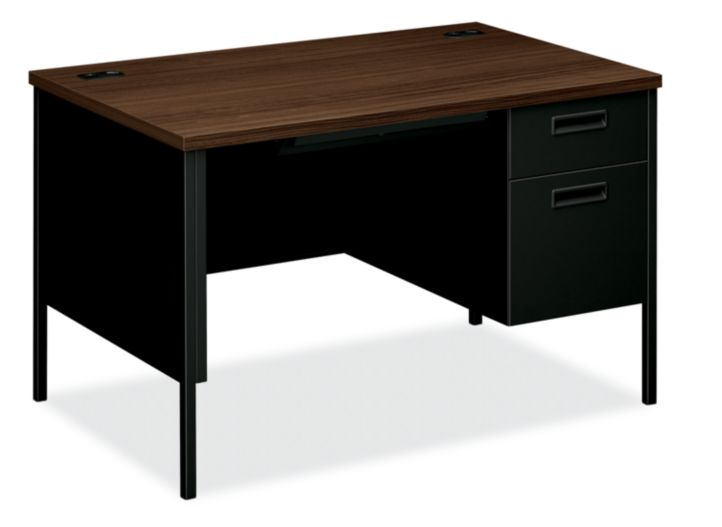 HON MetroClassic Right Pedestal Desk Brown Black Front Side View HP3251R.Z.P
