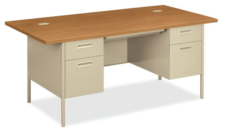 HON MetroClassic Double Pedestal Desk Putty Front Side View HP3276.C.L