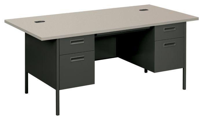 HON MetroClassic Double Pedestal Desk Charcoal Front Side View HP3276.G2.S