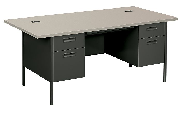 HON MetroClassic Double Pedestal Desk Charcoal Front Side View HP3276.G2.S