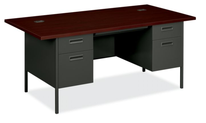 HON MetroClassic Double Pedestal Desk Mahogany Charcoal Front Side View HP3276.N.S