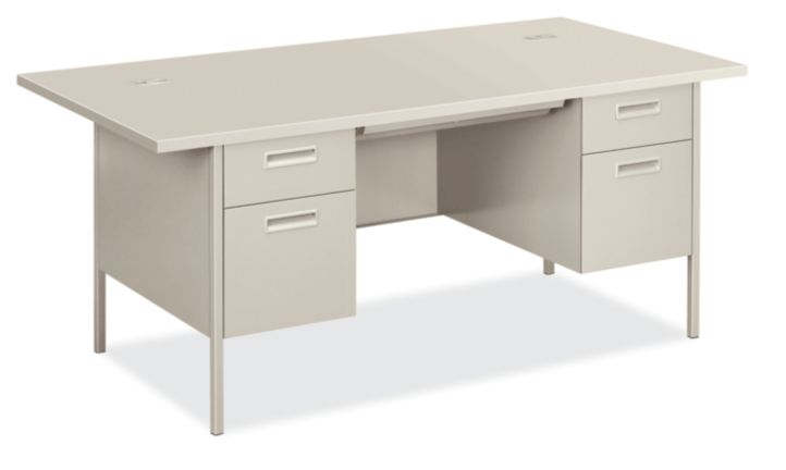 HON MetroClassic Double Pedestal Desk Light Gray Front Side View HP3276.Q.Q