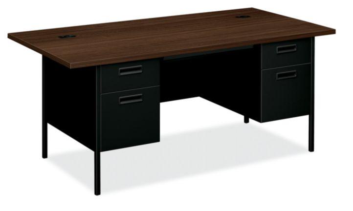 HON MetroClassic Double Pedestal Desk Black Front Side View HP3276.Z.P