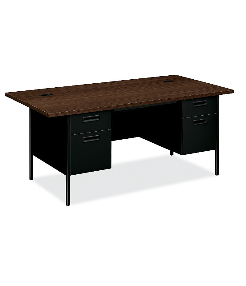HON MetroClassic Double Pedestal Desk Black Front Side View HP3276.Z.P