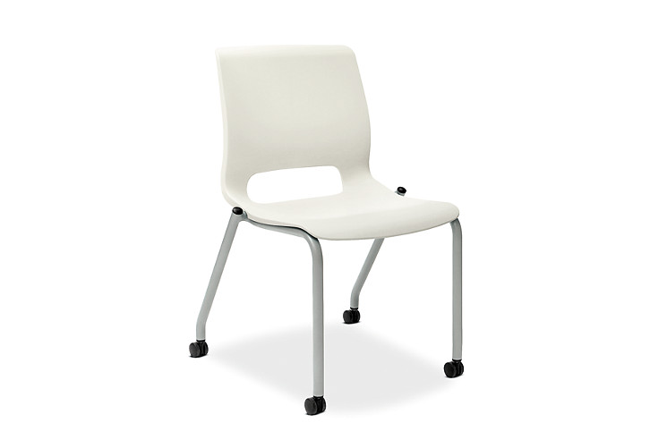 HON Motivate Stacking Chairs White Armless Front Side View HMG1.N.A.LO.PLAT