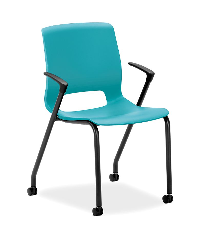 HON Motivate Stacking Chairs Light Blue Fixed Arms Front Side View HMG1.F.A.CP.BLCK
