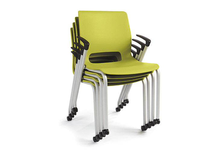 HON Motivate Stacking Chairs Green Fixed Arms Front Side View HMG1.F.A.LM.PLAT