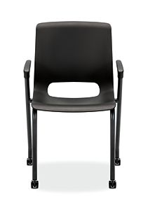 HON Motivate Stacking Chairs Black Fixed Arms Front View HMG1.F.A.ON.BLCK