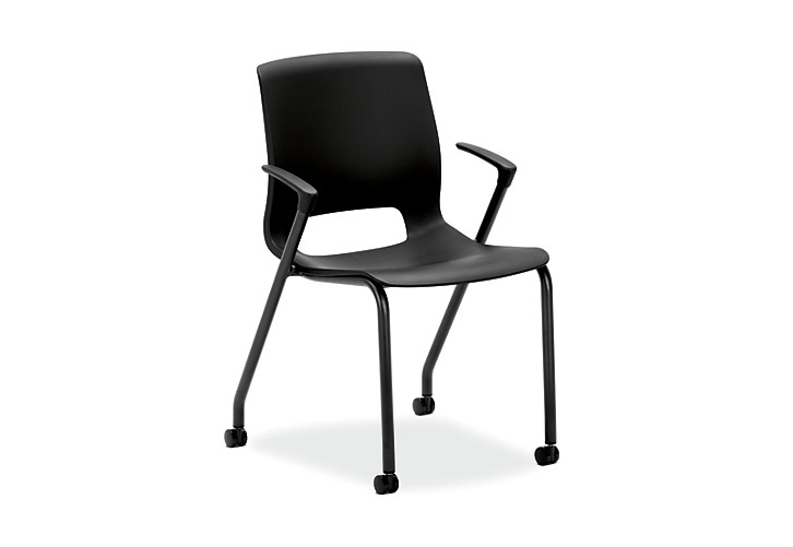 HON Motivate Stacking Chairs Black Fixed Arms Front Side View HMG1.F.A.ON.BLCK