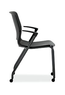 HON Motivate Stacking Chairs Black Fixed Arms Side View HMG1.F.A.ON.BLCK