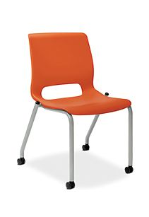HON Motivate Stacking Chairs Orange Armless Front Side View HMG1.N.A.RG.PLAT