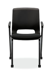 HON Motivate Stacking Chairs Confetti Black Fixed Arms Casters Front View HMG2.F.A.ON.AB10.BLCK