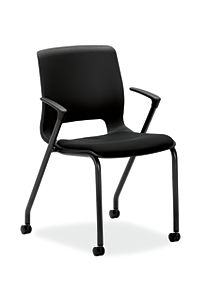 HON Motivate Stacking Chairs Confetti Black Fixed Arms Casters Front Side View HMG2.F.A.ON.AB10.BLCK