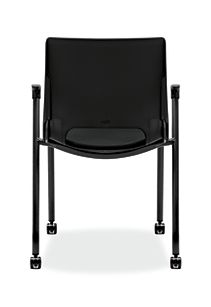 HON Motivate Stacking Chairs Confetti Black Fixed Arms Casters Back View HMG2.F.A.ON.AB10.BLCK