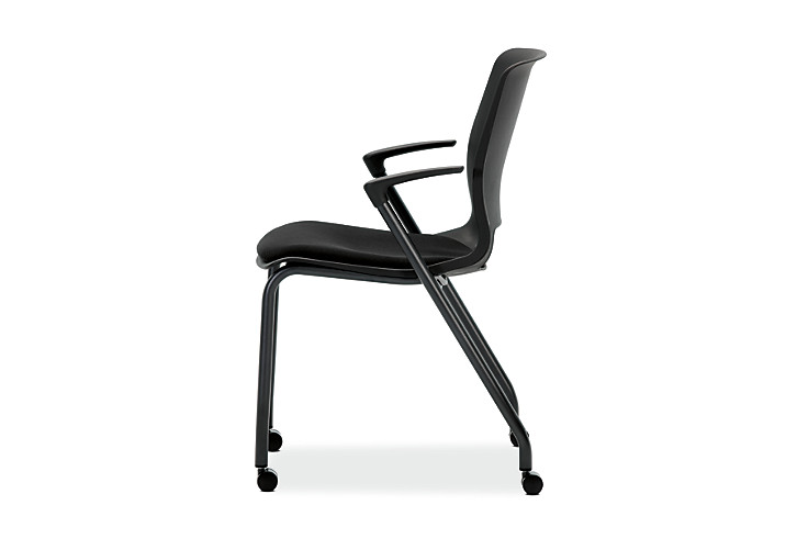 HON Motivate Stacking Chairs Confetti Black Fixed Arms Casters Side View HMG2.F.A.ON.AB10.BLCK