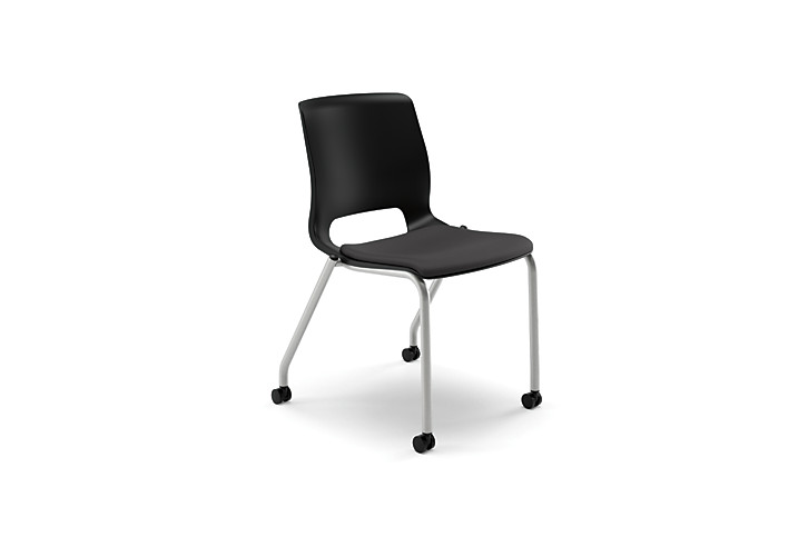 HON Motivate Stacking Chairs Centurion Black Armless Casters Front Side View HMG2.N.A.SD.CU10.PLAT