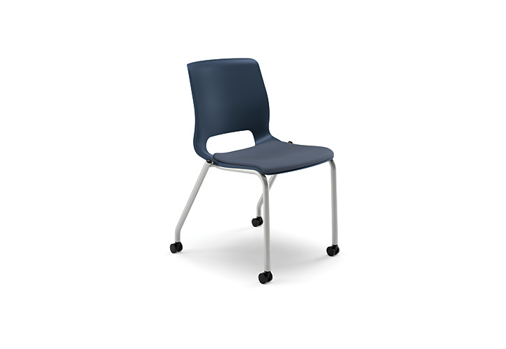 HON Motivate Stacking Chairs Centurion Cerulean Armless Casters Front Side View HMG2.N.A.SD.CU90.PLAT