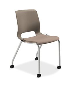 HON Motivate Stacking Chairs Centurion Morel Armless Casters Front Side View HMG2.N.A.SD.CU24.PLAT