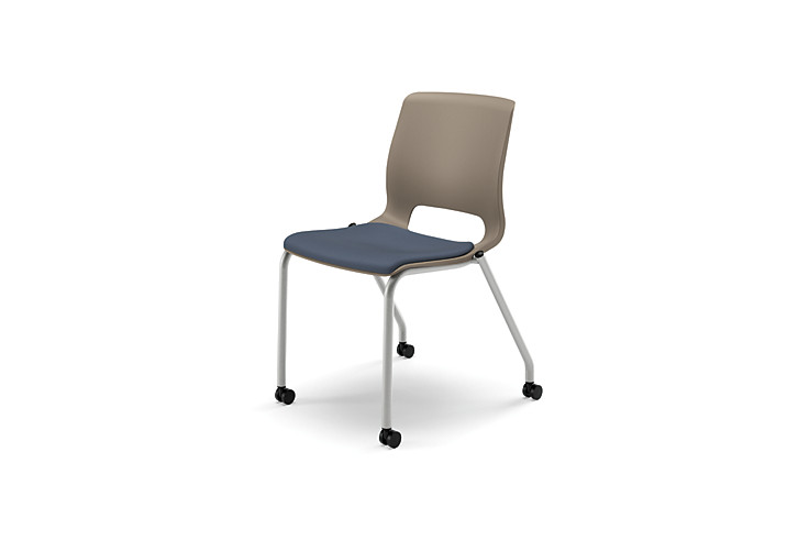 HON Motivate Stacking Chairs Centurion Cerulean Seat Tan Back Armless Casters Front View HMG2.N.A.SD.CU90.PLAT