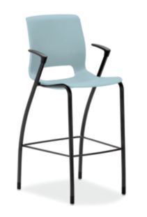 HON Motivate Four-leg Cafe-Height Stool Surf Fixed Arms Front Side View HMG5.F.E.BU.BLCK