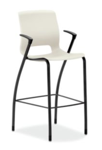 HON Motivate Four-leg Cafe-Height Stool Loft Fixed Arms Front Side View HMG5.F.E.LO.BLCK