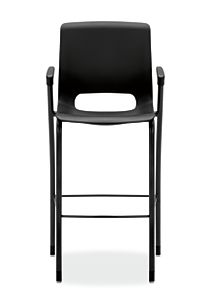 HON Motivate Four-leg Cafe-Height Stool Onyx Fixed Arms Front View HMG5.F.E.ON.BLCK
