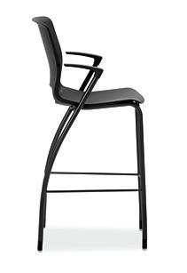 HON Motivate Four-leg Cafe-Height Stool Onyx Fixed Arms Side View HMG5.F.E.ON.BLCK