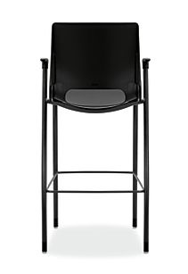 HON Motivate Four-leg Cafe-Height Stool Onyx Fixed Arms Back View HMG5.F.E.ON.BLCK