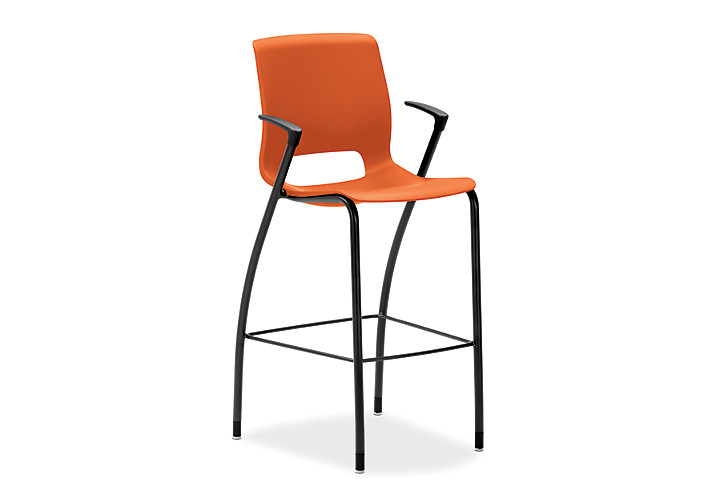 HON Motivate Four-leg Cafe-Height Stool Tangelo Fixed Arms Front Side View HMG5.F.E.RG.BLCK