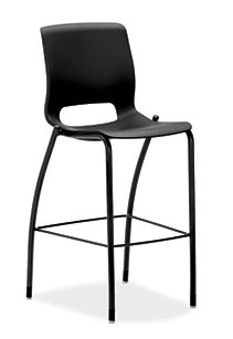 HON Motivate Four-leg Cafe-Height Stool Onyx Armless Front Side View HMG5.N.E.ON.BLCK