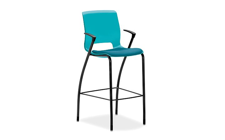 HON Motivate Cafe Height Stool Inertia Calypso Fixed Arms Front Side View HMG7.F.E.CP.NR98.BLCK