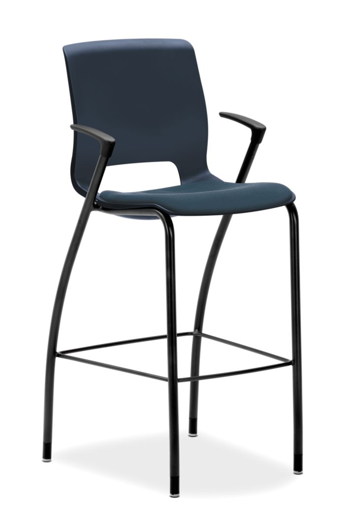 HON Motivate Cafe Height Stool Centurion Cerulean Fixed Arms Front Side View HMG7.F.E.RE.CU90.BLCK