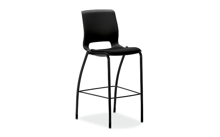 HON Motivate Cafe Height Stool Confetti Black Armless Front Side View HMG7.N.E.ON.AB10.BLCK
