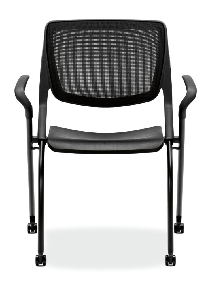 HON Motivate Stacking Chairs Onyx Color Fixed Arms Front View HMN1.F.A.IM.ON.BLCK