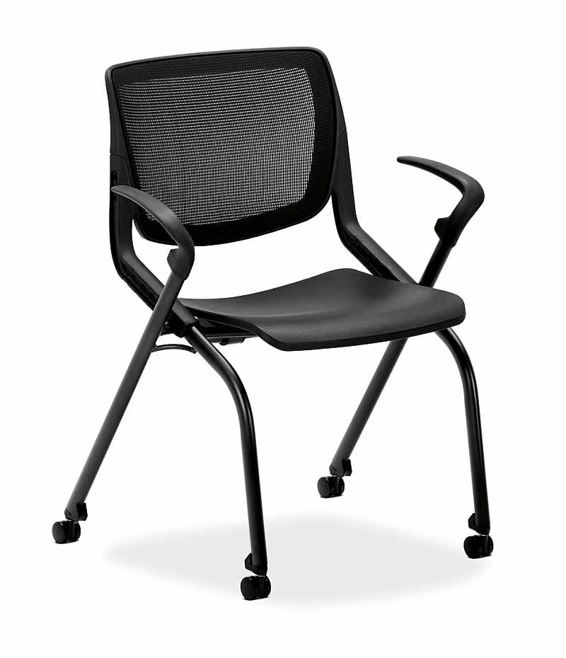 hon motivate stacking chairs onyx color fixed arms front side view hmn1faim