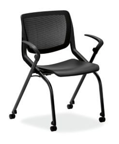 HON Motivate Stacking Chairs Onyx Color Fixed Arms Front Side View HMN1.F.A.IM.ON.BLCK