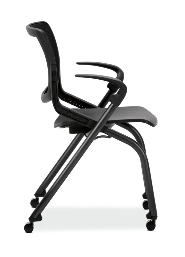 HON Motivate Stacking Chairs Onyx Color Fixed Arms Side View HMN1.F.A.IM.ON.BLCK